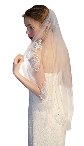 1T Wedding Veils Ivory White Lace Edge Wedding Accessories with Beads and Appliques