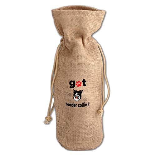 Got Border Collie - Got Border Collie Dog Jute Burlap Wine Drawstring Bag Wine Sack Natural