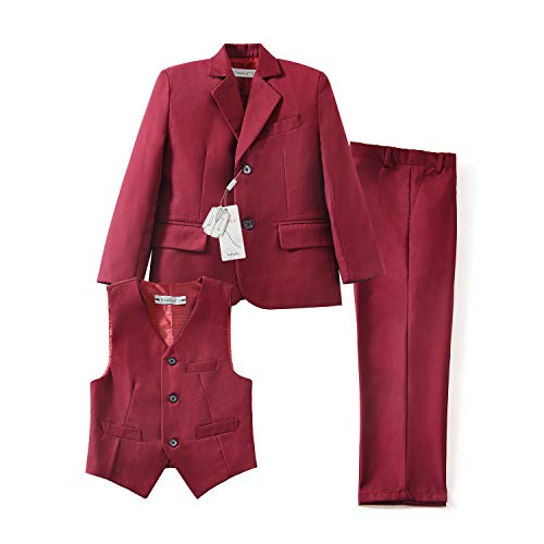 Yuanlu 3 Piece Tuxedo Boys Suits Kids Coat Vest and Pants Set Burgundy Size 5 (Five Tuxedo Piece Set)