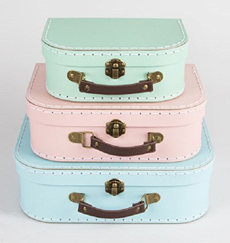 Set of 3 Suitcase Storage Boxes School Home Decor Sass and Belle Various - Garden Drawer 5 Spring Chest