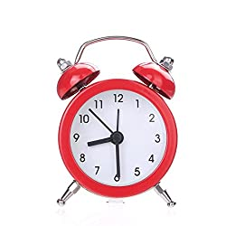 IEason Twin Bell Silent Alloy Stainless Metal Alarm Clock (Red)