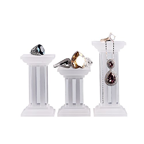 Oirlv Acrylic Jewelry Display Holder Trade Show/Showcase Display Stand(3 PCS Roman Column Stand)