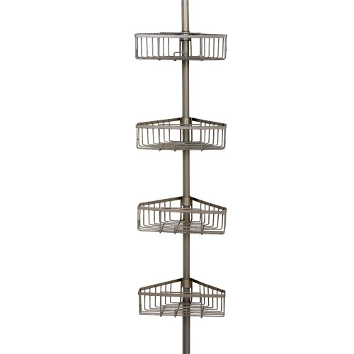 Zenna Home Rust-Resistant Tension Corner Pole Caddy, Satin Nickel