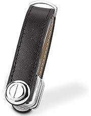 Compact Key Holder Leather Keychain, Bosiwee Smart Key Organizer, Folding Pocket Key Holder Chain (Black)