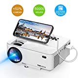 Mini Projector, T TOPVISION Projector with Synchronize Smart Phone Screen 2018 Upgraded, 50% Lumens Supported 1080P, 50,000 Hours Lamp Life, Compatible with HDMI/VGA/USB/TV/Box/Laptop/DVD