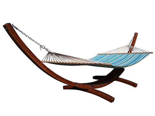 Petra Leisure 14 Ft. Teak Wooden Arc Hammock Stand + Quilted Teal/Yellow Color, Double Padded Hammock Bed. 2 Person Bed. 450 LB Capacity. ()