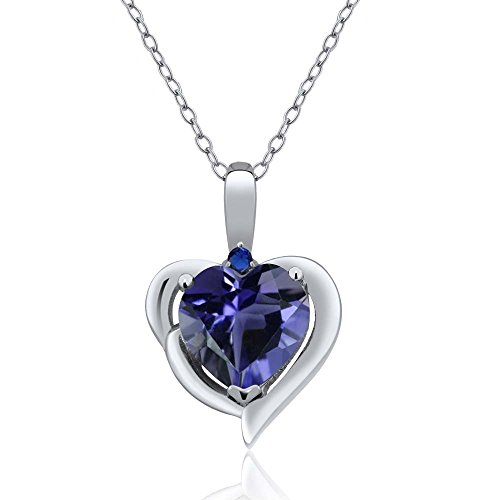 Gem Stone King 1.26 Ct Heart Shape Blue Iolite 925 Sterling Silver Pendant ()