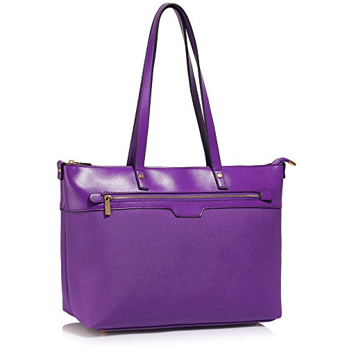 Womens Tote Bags Office 1 Extra Large Ladies Handbags Laptop Faux Design Leather Shoulder Purple 4cUE1qHB