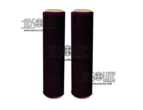 Two (2) Rolls Black Hand Stretch Plastic Film Pallet Shrink Wrap 18