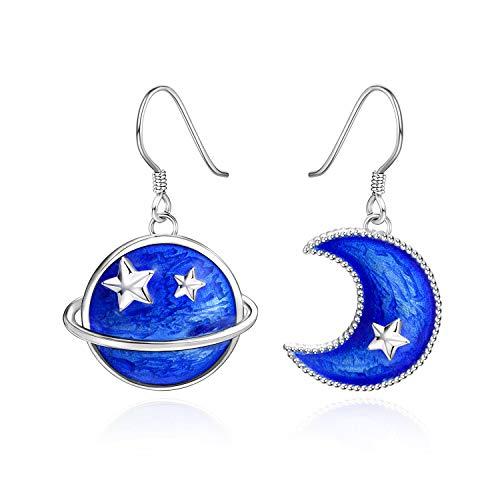 LUHE MoonStar Earth Dangle Earring Sterling Silver Blue Moon Dangle Drop Earring Asymmetric Earrings with Fishhook for Women Teen Girls