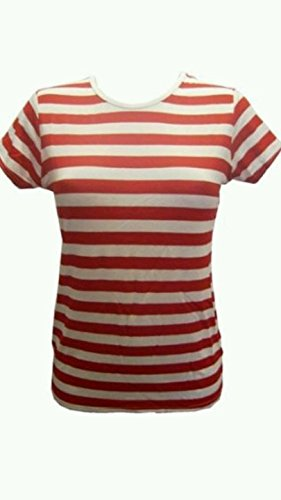 Women Girl Red White Stripe Stripes Top Tshirt Fancy Dance Party Usa Made England (Red And White Stripped Tights)