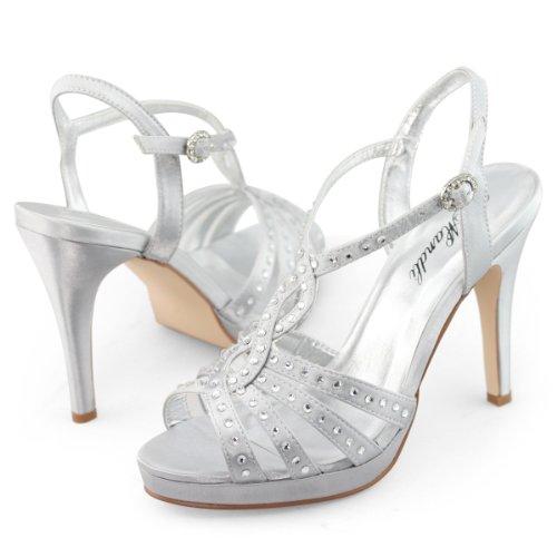 SHOEZY Womens Dress Rhinestones Strap High Heels Platform Shoes Sandals