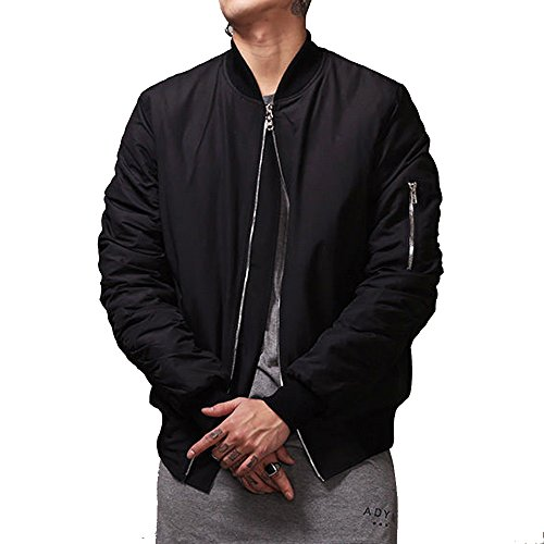 MCCKLE Men`s Zip Hip Hop MA-1 Varsity Baseball Bomber jacket (Medium) Black (Baseball Jacket Black)