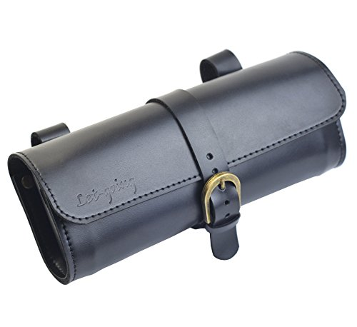 Letgoing Bike PU Leather Vintage Saddle Bag Inner Size 19x9x5cm (Black)