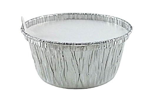 4 oz. Disposable Aluminum Foil Cup w/Lid Utility/Muffin/Cupcake/Ramekin 1000/PK by Osislon Series