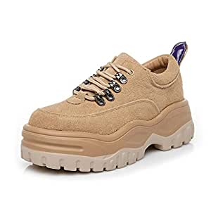 Women's Shoes Spring & Fall Platform Shoes Suede Lace-Up Sneakers Outdoor Casual Walking Shoes Hiking Shoes,A,36