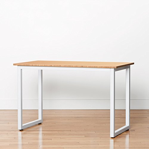 Bamboo Side Table - 48'' x 24'' Computer or Printer Table / Small Kitchen Table with Steel Frame (With Rolling Casters, White) by Jarvis