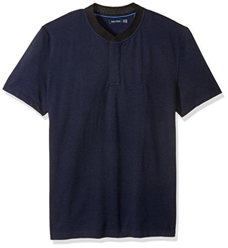 Nautica Men's Short Sleeve Solid Henley Collar Polo Shirt, Navy Large