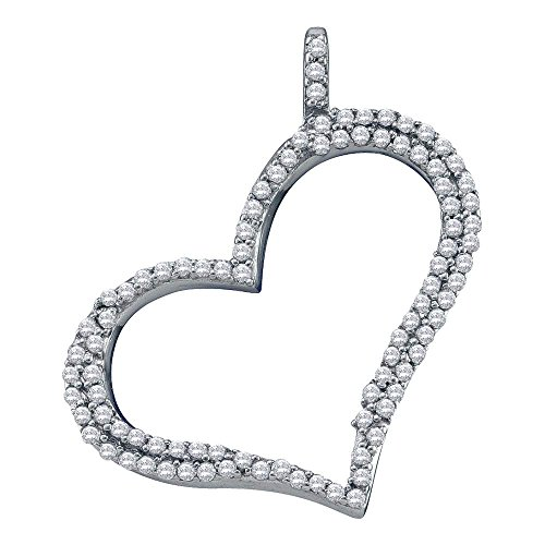 Sonia Jewels 10K White Gold Heart Micro Pave Set Round Diamond Pendant - (Height = 23mm ; Width = 22mm) - (1/3 cttw) (Pave Set Round Diamond Pendant)