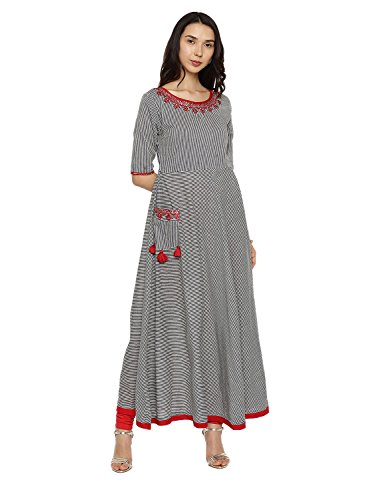Kurta Women Women's Aaboli Tunic Dress Multicoloured Casual Blue1 Kurti Long Women for Printed wEgqArdgvn