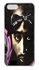 Tupac Rapper Artwork Custom iPhone 5S Case Cover - Polycarbonate - Transparent