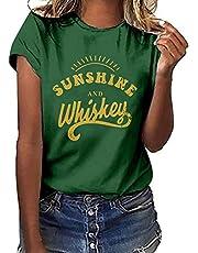 POINWER - Camiseta de manga corta para mujer, diseño de girasol, manga corta, camiseta clásica de manga corta, camisetas de verano
