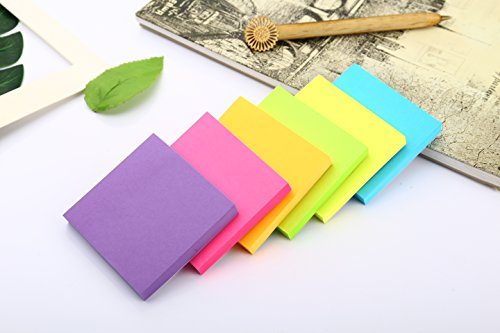 Sticky Notes, 3 in x 3 in, 24 Pads/Pack,100 Sheets/Pad, 6 Bright Colors Self-Stick Notes for Home,Office, School, Easy Post. by ERBAO (Image #3)