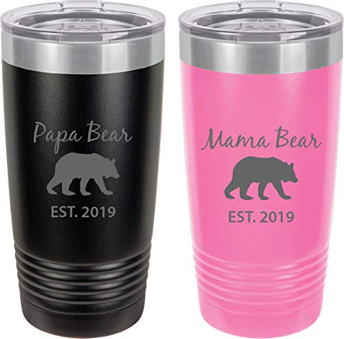 Papa Bear Est. 2019 - Mama Bear Est. 2019 Stainless Steel Engraved Insulated Tumbler 20 Oz Travel Coffee Mug, -
