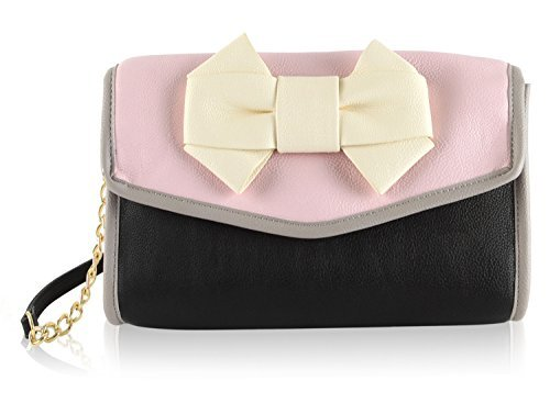 Betsey Johnson Pink and Black Crossbody Shoulder Handbag - Flap Chain Betsey