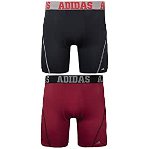 adidas Men's Sport Performance Climacool 9-Inch Midway Underwear (2-Pack), (Black/Grey)/(Real Red/Black), Small