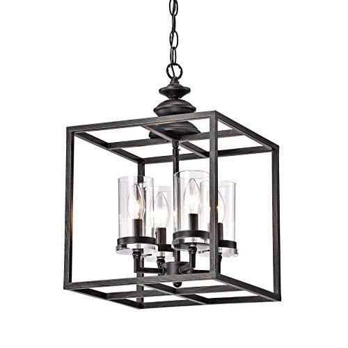 Cheap Jojospring La Pedriza 4-Light Antique Black Lantern Chandelier with Clear Glass Cylinders