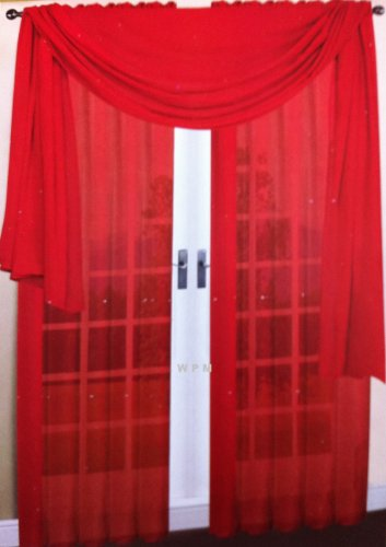 3 Piece Red Sheer Voile Curtain Panel Set: 2 Red Panels and 1 Scarf