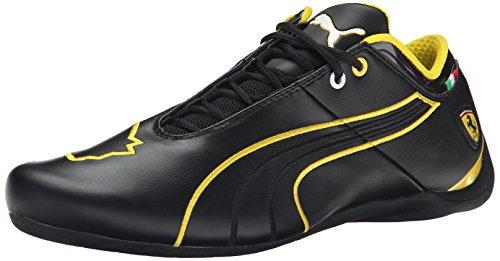 PUMA Men's Future Cat M1 Ferrari Lace-Up Fashion Sneaker, Black/Black/Vibrant Yellow, 7.5 (Future Cat M1 Sneaker)