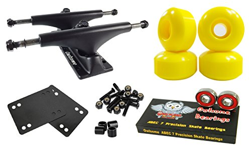 Owlsome 5.0 Black Aluminum Skateboard Trucks w/52mm Wheels Combo Set (Yellow)