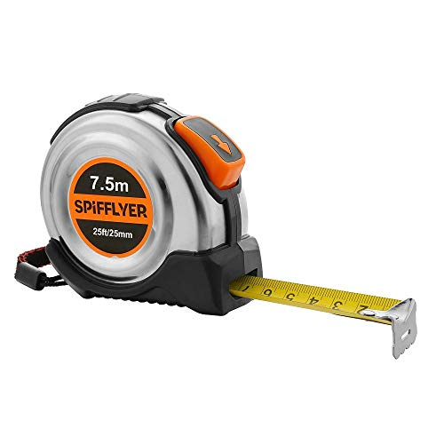 Spifflyer 25' Stainless Steel Self Locking Metric and Inch Tape Measure 7.5M 25 Ft Measuring Tape Retractable with Belt Clip, MID Accuracy and Nylon Coating Tape