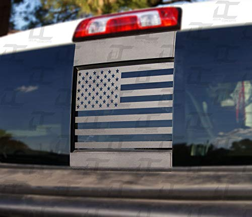(Silverado/Sierra Flat Black American Flag Rear Window Accent Decal (2015-2018))
