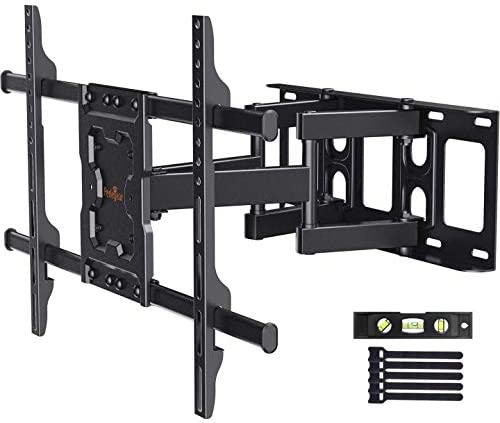 Perlegear Full Motion TV Wall Mount Bracket Dual Articulating Arms Swivels Tilts Rotation for Most 37-75 Inch LED, LCD, OLED Flat&Curved TVs, Holds as much as 132lbs, Max VESA 600x400mm
