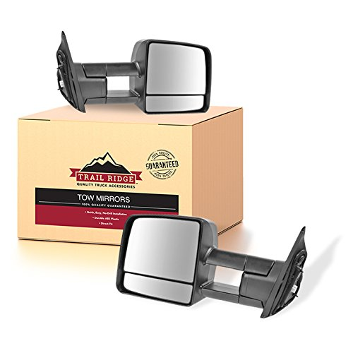 (Trail Ridge Tow Mirror Power Heated LED Signal Black Pair Set for Toyota)