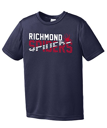 Licensed Officially Spider - NCAA Richmond Spiders Youth Boys Diagonal Short sleeve Polyester Competitor T-Shirt, Youth Large,Navy