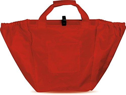 BORSA SHOPPING IN NYLON munita di ganci per essere appesa allinterno del carrello della spesa. Con comoda fodera in nylon 25x39x37 cm. Colore Rosso
