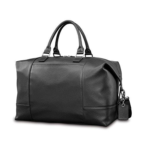 (Samsonite Mens Leather Classic Weekender Black)
