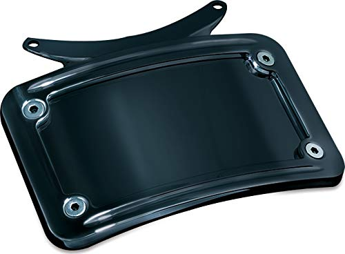 Kuryakyn 3143 Motorcycle Accent Accessory: Curved License Plate Holder Frame on Bullet Style Light Bar for 1986-2019 Harley-Davidson Motorcycles, Gloss Black (Best Cycle In The World 2019)