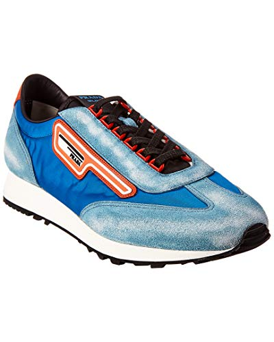 Prada Logo Patch Suede Sneaker, 7 UK, Blue