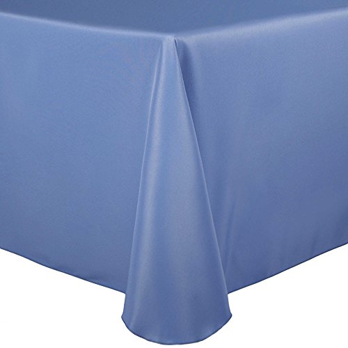 (Ultimate Textile 52 x 70-Inch Oval Polyester Linen Tablecloth Periwinkle Blue)