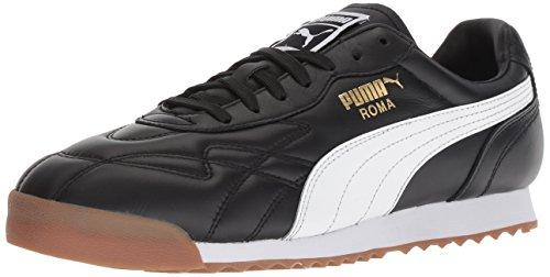 (PUMA Men's Roma Anniversario Sneaker, Black-White, 10.5 M US)