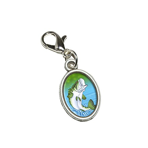 Graphics and More Bass Fish - Fishing Jumping Out of Water Antiqued Bracelet Pendant Zipper Pull Oval Charm with Lobster Clasp