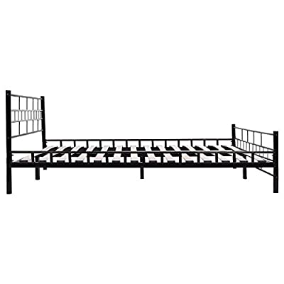 Amazon.com: Bed Frame Platform Black Queen Size Wood Slats Headboard ...