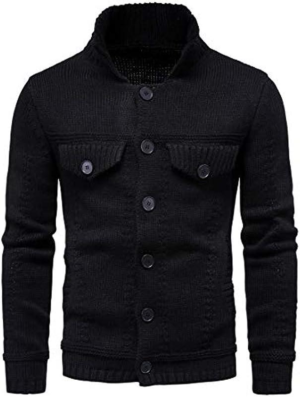 MU2M Men Winter Thick Open Front Solid Lapel Button Down Cardigan Coat: Odzież