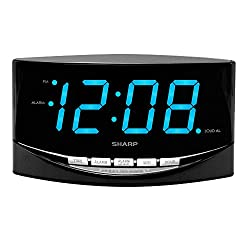 SHARP Digital Alarm Clock with Easy to See Large 2 Bright Blue Large LED Display - Simple Operation - Easy to Set-up - Easy to Use for Kids,Teens,Seniors - Bedroom, Kitchen, Office