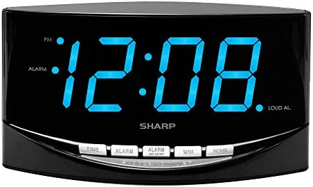 SHARP Easy to See Alarm Clock with Jumbo 2 Numbers – Bright Blue LED Display – Easy Set-up Simple to Use See from Across the Room – High Low Alarm Volume